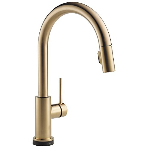 Delta Faucet Trinsic Single-Handle Touch Kitchen Sink Faucet with Pull Down Sprayer, Touch2O Technology and Magnetic Docking Spray Head, Champagne Bronze 9159T-CZ-DST