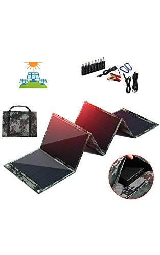 XDDXIAO 150W Foldable Solar Panel, 12V/5V Portable Solar Battery Charger with Dual USB Port and Alligator Clip Outdoor Waterproof Power Bank, for Phone/PC/Car/RV/Boat