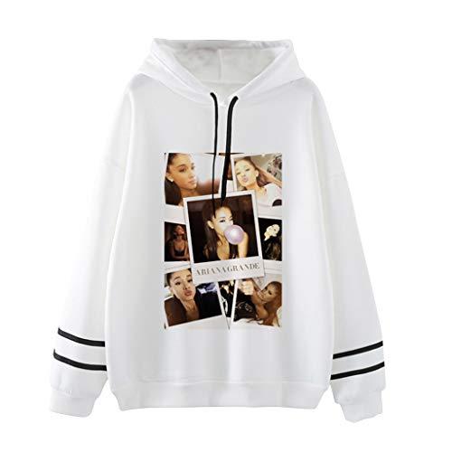 Ariana Grande Felpa per Donna,Trend Singer Ariana Grande Thank u, Next Stampa di Lettere Manica Lunga Maglione Abbigliamento Hoodie Pullover Felpa per Donna Ragazza (Bianco,XL)