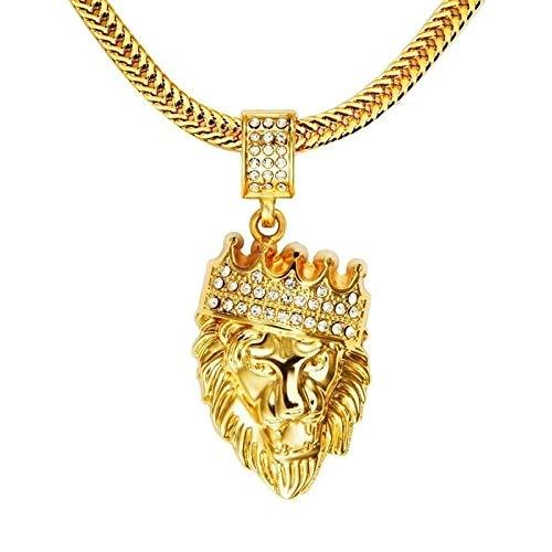 Collar Colgante Joyería Moda Hombres Hip Hop King Crown Lion Colgante Collar De Cadena-Oro