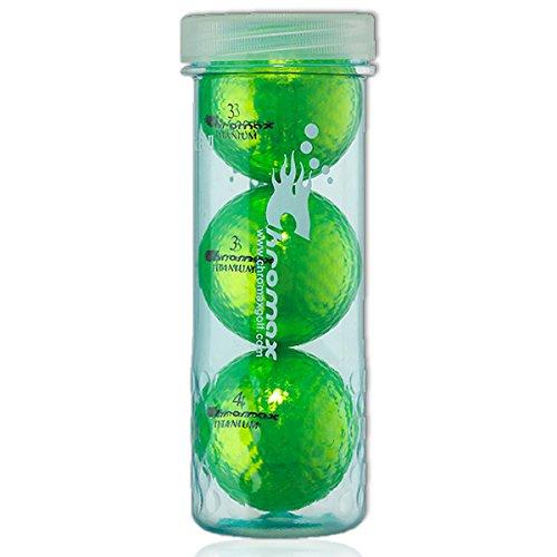 Chromax 3 Golfbälle Bunt M1x High Visibility - Lustig Golf Geschenk Idee für den Glamour Faktor beim Golfen in (grün)