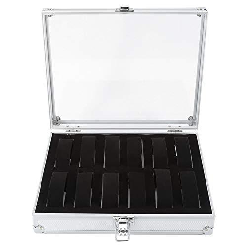 Alvinlite Caja de Reloj Caja de Almacenamiento de joyería de Aluminio 6 Ranuras 12 Ranuras Astilla Opcional(12 Grid)