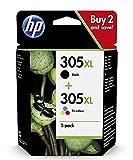 HP 305XL 6ZA94AE, Negro y Tricolor, Cartucho de Tinta de Alta Capacidad Original, compatible con impresoras de inyección de Tinta HP DeskJet Series 2700, 4100, Envy Series 6020, 6030, 6400 y 6430