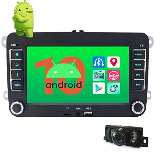 EinCar Android Radio 10.0 OS Double 2 din Car Stereo 7 Inch Car Radio with Bluetooth GPS Navigation WiFi FM/AM SWC Mirror Link Quad Core CPU Multimedia Player with Rear Camera