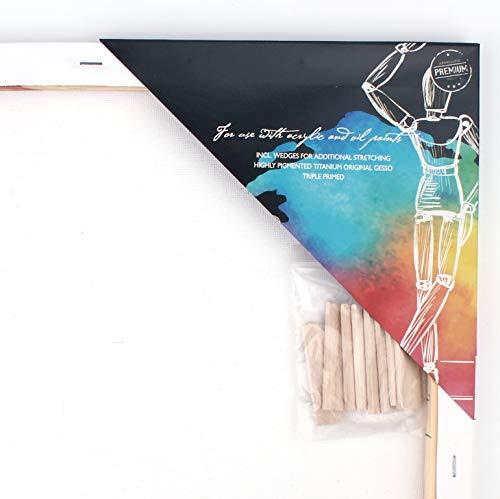 Canvas Set 12-teilig von Nassau Fine Art, Leinwand zum Malen mit Acryl- und Ölfarben, Keilrahmen aus 100% säurefreier Baumwolle für Hobbykünstler und Experten, 60 x 80 x 1,7 cm