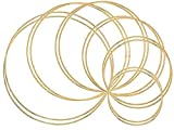 Outuxed 12pcs Gold Dream Catcher Metal Rings Supplies, Metal Hoops Macrame Creations Ring for Crafts, 6 Size(4inch, 5inch, 5.5inch, 6.5inch, 7inch, 7.5inch)