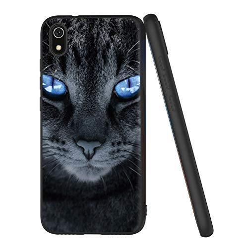 Pnakqil Funda Xiaomi Redmi 7A Silicona Ultrafina Negra con Dibujos Diseño Suave TPU Gel Antigolpes de Protector Piel Slim Case Cover Cárcasa Fundas para Movil Xiaomi Redmi7A, Gato de Ojos Azul