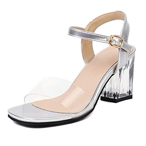 SacciButti Damen Sandalen For Damen Höhen Blockabsatz Sommer Sandalen Square Toe Schnalle Transparent Sandalen Chunky Heel Kleid Sandalen Silver Size 44 Asiatisch