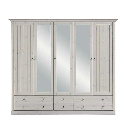 Pharao24 Landhaus Kleiderschrank aus Kiefer Weiß Spiegeltüren