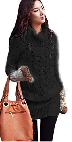 Mikos Damen Pullover Pulli Longpullover Lang Rollkragenpullover 36 38 40 (642) (L/XL, Schwarz)