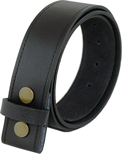 Ossi Ashford canto de cuero real de 40mm de botón de presión broche de presión en la correa en negro (82cm - 92cm cintura)
