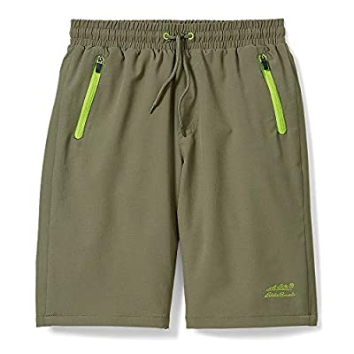 Eddie Bauer Boys Quick Dry Performance Shorts | Green, Large