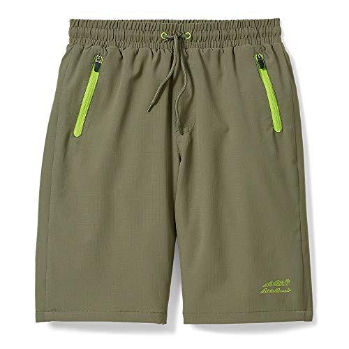 Eddie Bauer Quick Dry Boy's Shorts | UPF 50 Performance with Drawstring & Zipper Pockets, Dark Green, S