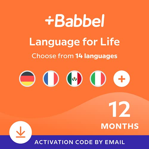 Babbel Language Learning Software - Learn to Speak Spanish, French, English, & More - 14 Languages to Choose from - Compatible with iOS, Android, Mac & PC (12 Month Subscription)