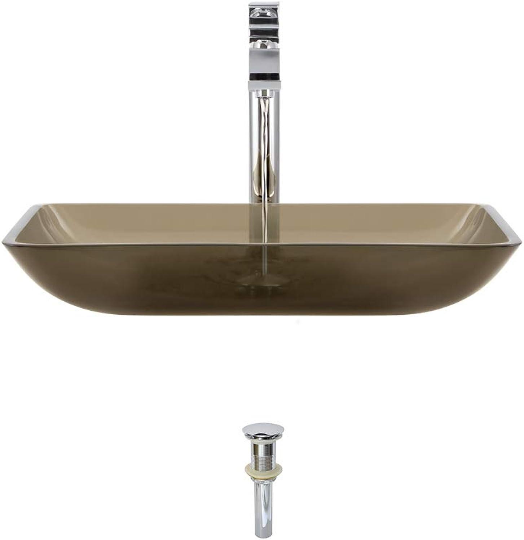 The MR Direct 640 Taupe Chrome Bathroom 721 Vessel Faucet Ensemble (Bundle - 3 Items  Vessel Sink, Vessel Faucet and Pop-up Drain)