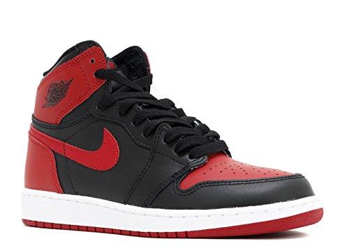 Nike Air Jordan 1 Retro High OG BG, Scarpe da Basket Uomo, Nero (Black/Varsity Red-White), 38.5 EU