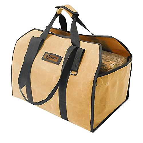 CARBABY 薪バッグ 2way使用 ログキャリー 薪ケース 持ち運び用 ハンドル付き ストーブアクセサリー 帆布製 防水