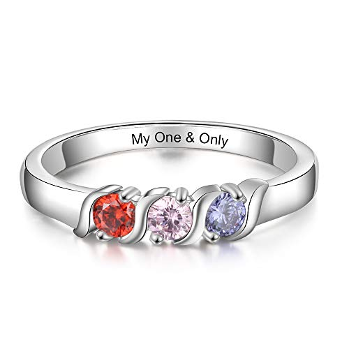 Personalized Family Mothers Rings with 3 Simulated Birthstones Engraved Names Anniversary Rings for Grandma (7)