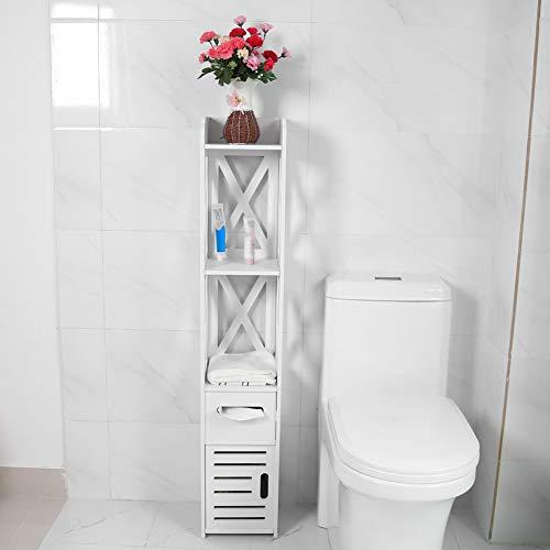 Yyqtgg Armario de baño estratificado, Esquina de Almacenamiento de Papel Blanco Gran hogar Fuerte y Resistente 120 * 22 * 22,5 cm Hecho de Tablero de plástico de Madera