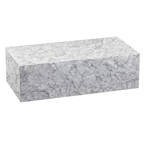 Finebuy Couchtisch 100x30x50 cm MDF Hochglanz mit Marmor Optik Weiß | Design Wohnzimmertisch Rechteckig | Lounge Beistelltisch Cube Tisch