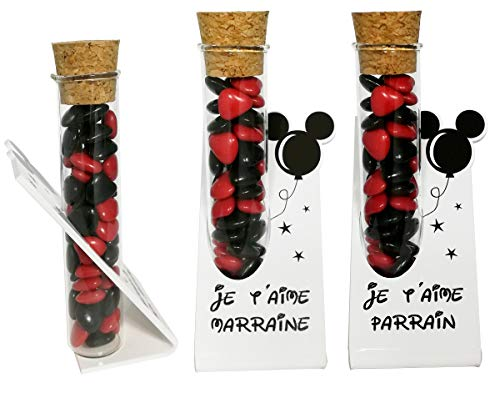 Lot : 1 soliflore Je t'aime Parrain + 1 Marraine – Cadeau Baptême, Boite contenant à dragées – idéal pour une décoration de table thème Mickey Mouse minnie disney disneyland existe en modèle souvenir