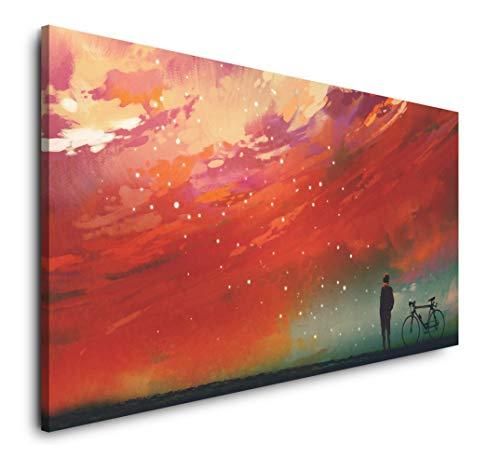 Paul Sinus Art Mann mit Fahrrad vor roten Wolken 120x 60cm Panorama Leinwand Bild XXL Format Wandbilder Wohnzimmer Wohnung Deko Kunstdrucke