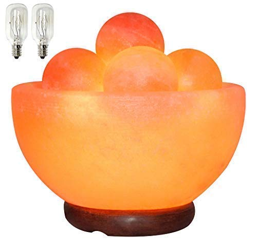 Himalayan Fire Bowl Salt Lamp with 6 Massage Balls Premium Quality Authentic...