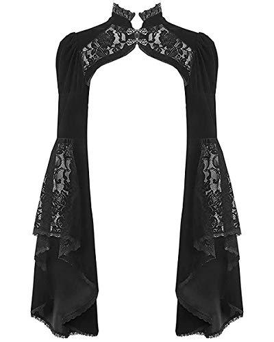 Dark In Love Gothique Haut Boléro Velours Noir Lacets Steampunk Vintage Style Victorien - Noir, XL - UK Womens Size 14
