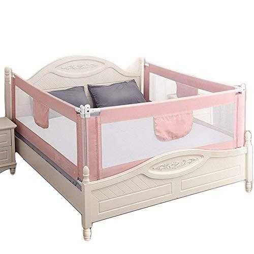 WYJW Anti-Fall Bed Rail 3-zijdig voor baby peuter, Veiligheid roze Bed Guardrail voor Queen & King Size Bed,Extra Tall 92Cm (Maat: 1.51.81.8m)