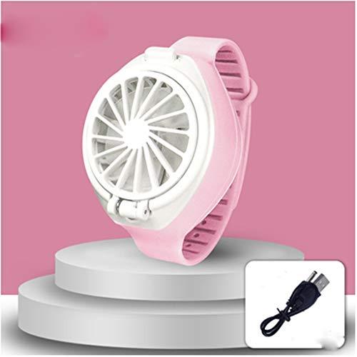 ECSWP USB Reloj al Ventilador, Ventilador USB Recargable con cómodos Correa for la muñeca Mini Ventilador portátil Personal del Ventilador en Forma de Reloj (Color : Pink)