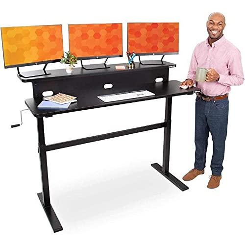 Stand Steady Tranzendesk | 55 Inch Dual Level Standing Desk | Easy Crank Height Adjustable Sit to Stand Desk | Stand Up Workstation with Monitor Riser | Great for Home & Office (55/Black)