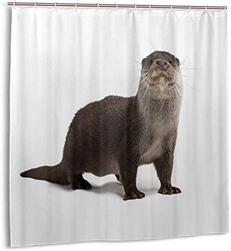 Duschvorhang Otter Cute Zoo Animal Wasserdichter Stoff Badevorhang für Baddekoration mit Haken180*180cm oein