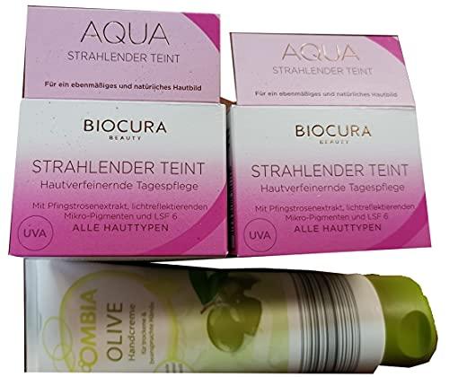 Biocura Aqua Strahlender Teint Tagescreme 2 x 50 ml + Ombia Handcreme Olive 125 ml