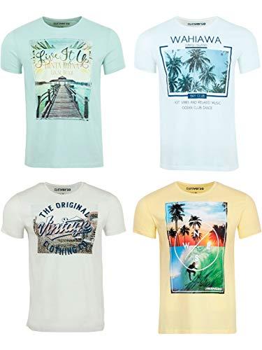 riverso Herren T-Shirt RIVLukas 4er Pack Fotodruck Rundhals Kurzarm Shirt Regular Baumwolle Tierdruck S - 5XL, Größe:3XL, Farbe:1x Grün (JJD) 1x Weiß (MJD) 1x Weiß (KJD) 1x Gelb (LJD)