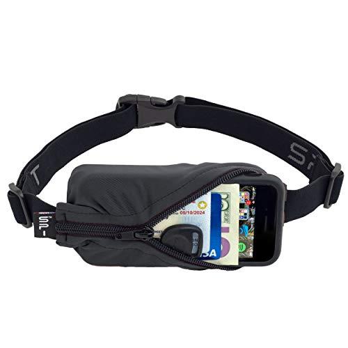SPIbelt Running Belt Original Pocket No-Bounce Waist Bag for Runners Athletes Men and Women fits Smartphones iPhone 6 7 8 X Workout Fanny Pack Expandable Sport Pouch Adjustable Anthracite Black Zipper