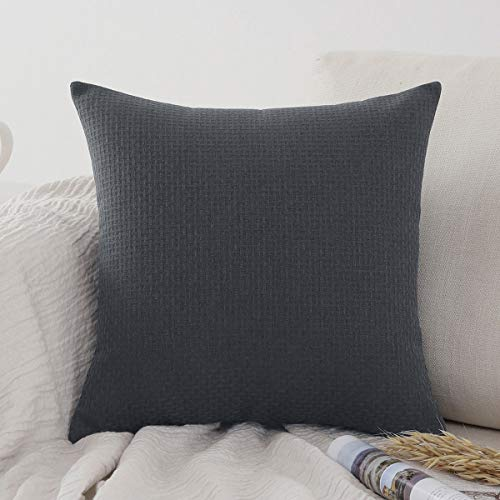 Jepeak Comfy Throw Pillow Cover Rattan Weaved Pattern Cushion Case, Solid Thickened Soft Polyester Linen Farmhouse Modern Decorative Pillow Case for Sofa Couch Bed (Charcoal Gray, 20 x 20 Inches)