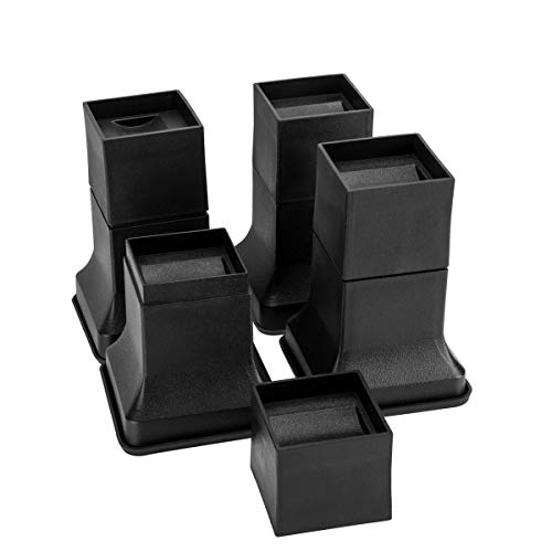 Niceclub 6 Inch Heavy Duty Bed Risers with Rubber Bottom Stackable Multi Height Furnture Risers Adjustable to 6, 4 or 2 Inch Heights, 8 Pieces Set
