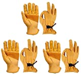 OZERO 3 Pairs Flex Grip Leather Work Gloves Adjustable Wrist Tough Cowhide Garden Glove for Men and Women (Gold, Medium)