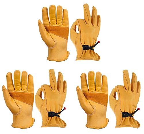 OZERO 3 Pairs Flex Grip Leather Work Gloves Adjustable Wrist Tough Cowhide Garden Glove for Men and...