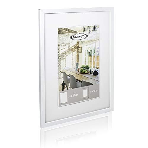 Close Up Posterrahmen 30x40 cm weiß Premium MDF-Rahmen Plexiglas-Scheibe Bilderrahmen mit Passepartout