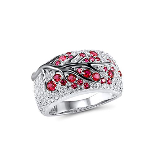 925 Sterling Silver Ring Delicate Pink Cherry Tree Created Ruby Shiny White Cubic Zirconia (6)