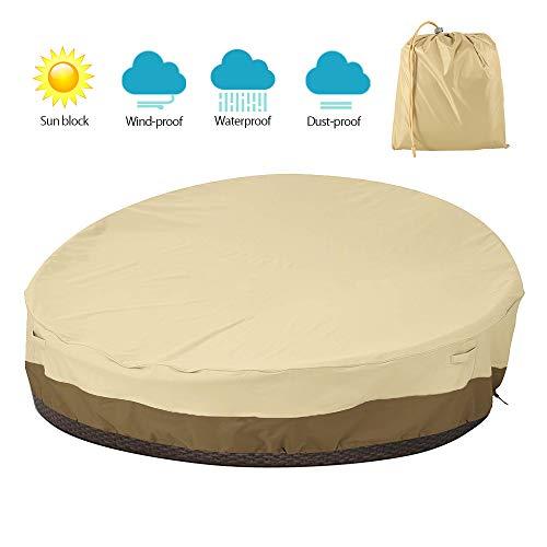 Windyeu Housse de Canapé Rond pour Meubles de Jardin Couverture de Canapé Rond Imperméable en Tissu Oxford 420D Résistante Aux UV, Imperméable (Beige)