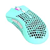 Rechargeable Wireless Honeycomb Gaming Mouse,Lightweight with 3200 DPI,RGB Rainbow Backlit-Blue