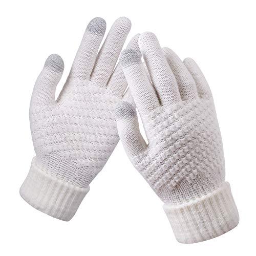 Guanti da donna in maglia di lana e cashmere Guanti invernali caldi e spessi per touch screen Guanti solidi per tablet per cellulare