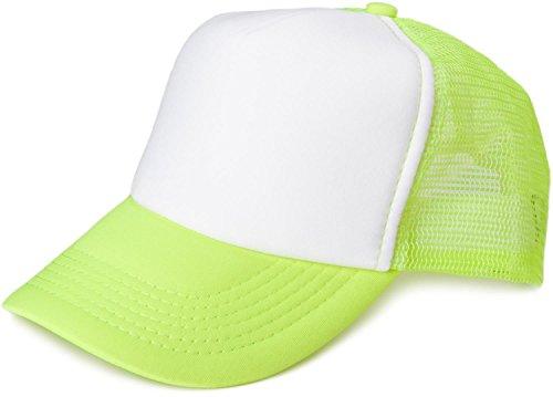styleBREAKER 5 Panel Mesh Cap, Trucker Baseball Cap, Basecap, verstellbar, Unisex 04023007, Farbe:Weiß-Neongelb