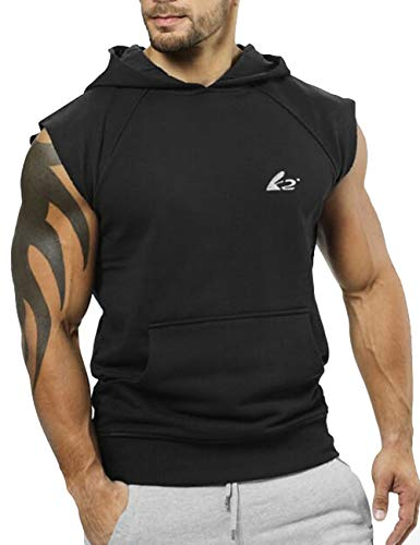 PAIZH Men's Bodybuilding Sleveless Hoodies Gym Workout Hooded Tank Tops (XL, Black)