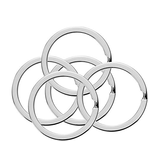 Flat Key Rings 10 Pieces 1 inches Flat Key Rings Metal Keychain Rings Split Keyrings Flat O Ring for Home Car Office Keys Attachment(silver)