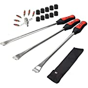 Dr.Roc 14.5 inch Perfect Leverage Tire Spoon Lever Iron Tool Kit Motorcycle Dirt Bike Lawn Mower Professional Tire Change Kit with Durable Bag 3 PCS Tire Spoons Valve Tool with 6 Valve Cores