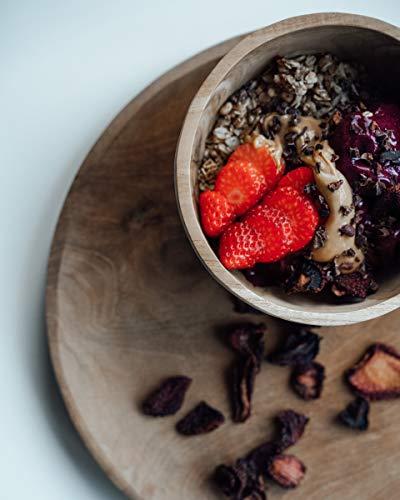 onvacay Teak-Holz Schale Bowl Vegan Salat Smoothie EIS Frühstück Porridge 15cm inkl. Löffel im Set Zertifiziert handgefertigt - 5