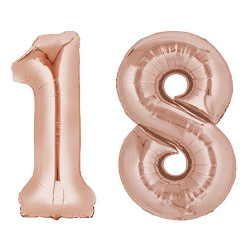 ocballoons Palloncino 18 Anni Mylar Numero Colore Rosa Altezza 100 cm Compleanno Festa Gas Elio